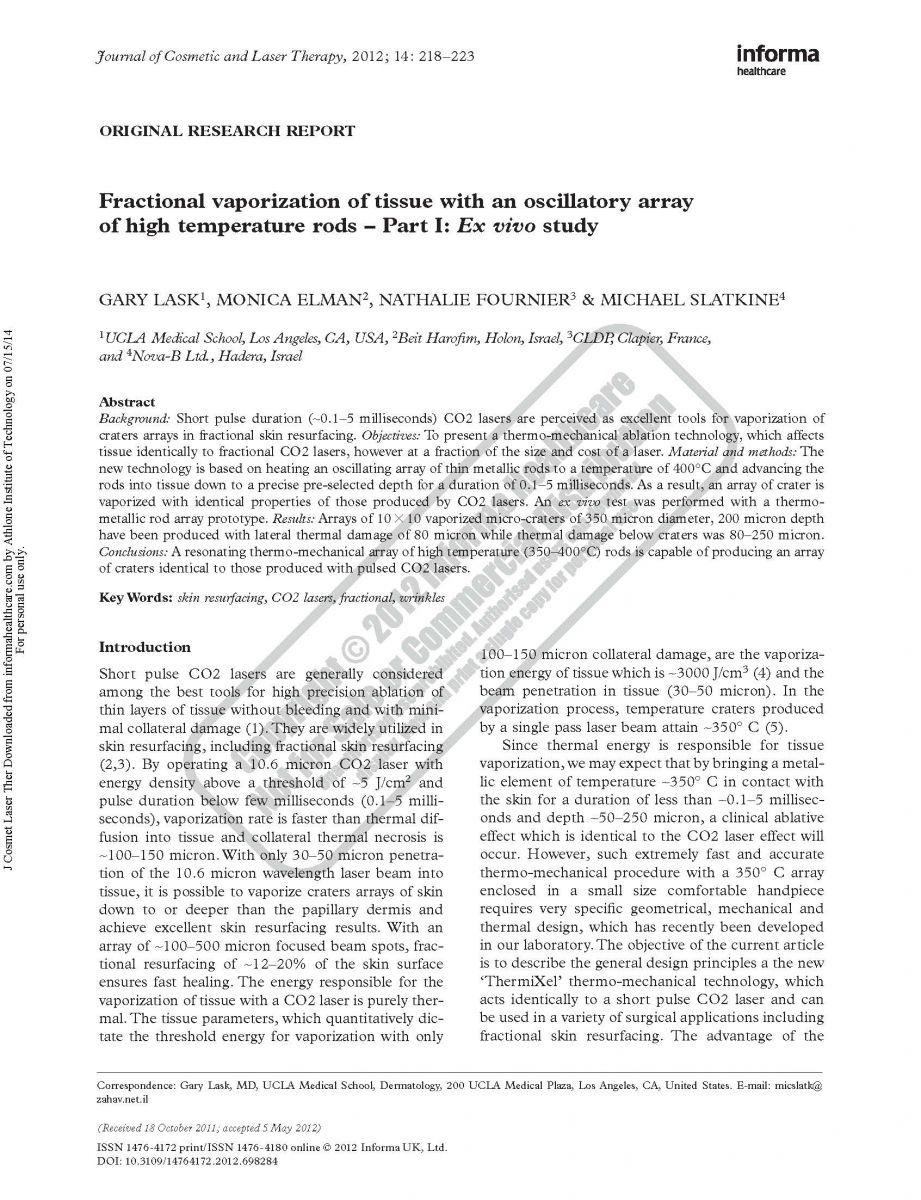 Fractional Vaporization of tissue